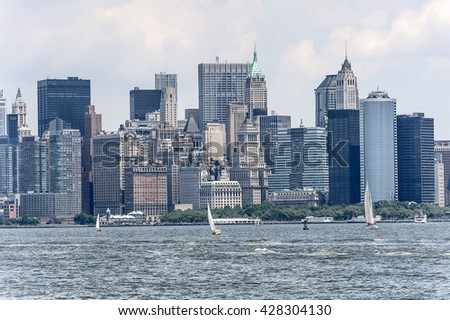 Scenic view of the New York Manhattan. Skyline seen from across the Hudson River. - stock photo
