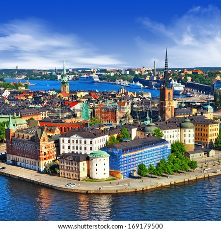 Scenic view of the Old Town (Gamla Stan) in Stockholm, Sweden  - stock photo