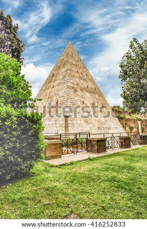 Scenic view of the Pyramid of Cestius, iconic landmark in Testaccio district in Rome, Italy