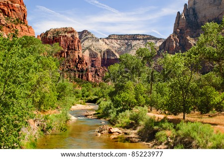 Scenic view of the river in Zion National park, Utah - stock photo
