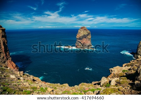 scenic view of the rock in the ocean at Ponta de Sao Lourenco, Madeira, Portugal - stock photo