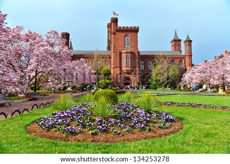 Scenic view of the Smithsonian Castle, landmark on the Mall, Washington DC, United States - stock photo