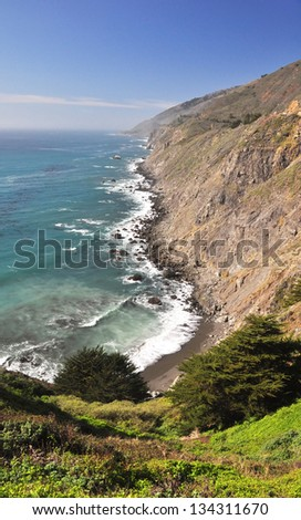 Scenic view of the spectacular coastline near Ragged Point, Big Sur,  California