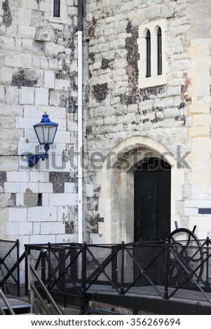 Scenic view of the stone fortress of the Tower of London, UK - stock photo