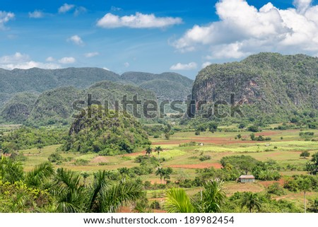 Scenic view of the Vinales Valley in Cuba,famous for its natural beauty and the quality of the tobacco grown in the area - stock photo