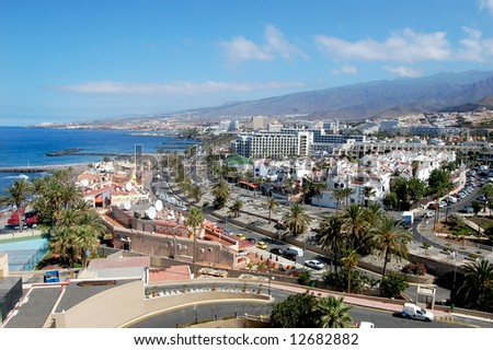 Scenic view of tourist town, Tenerife, Canary Islands - stock photo
