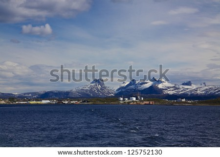 Scenic view of town Bodo in Norway from the sea