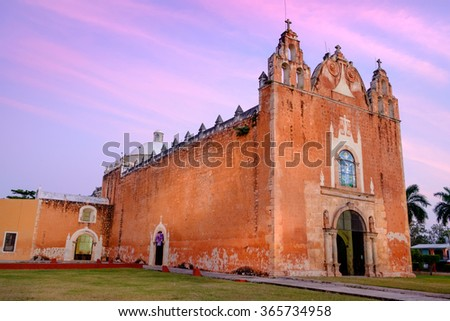 Scenic view of typical Mexican church at sunset, Ticul, Mexico - stock photo
