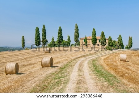 Scenic view of typical Tuscany country house - stock photo