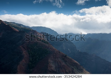 Scenic view of Waimea canyon from air, on a sunny day. Kauai, Hawaii