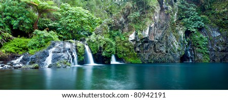 Scenic view of waterfall on river Langevin, Reunion Island.