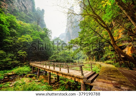 Scenic view of wooden bridge over river with crystal clear water at bottom of deep mountain gorge among green woods and steep cliffs in the Zhangjiajie National Forest Park, Hunan Province, China. - stock photo