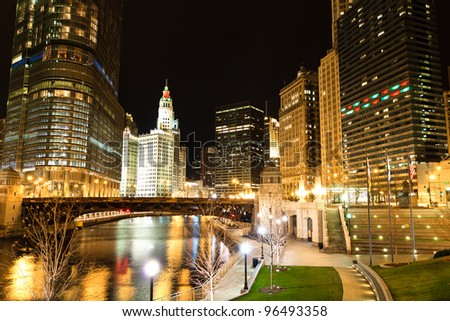 Scenic View on Chicago River at Night - stock photo