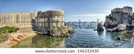 Scenic view on harbor fortification - Dubrovnik, Croatia - stock photo