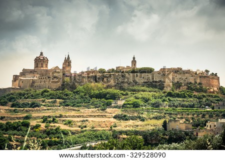 scenic view on historical town of Mdina in Malta - stock photo