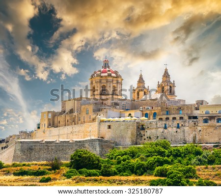 scenic view on historical town of Mdina in Malta at sunset