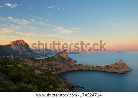 Scenic view on the Black sea coast and the sky with clouds in the evening, Crimea, Ukraine - stock photo
