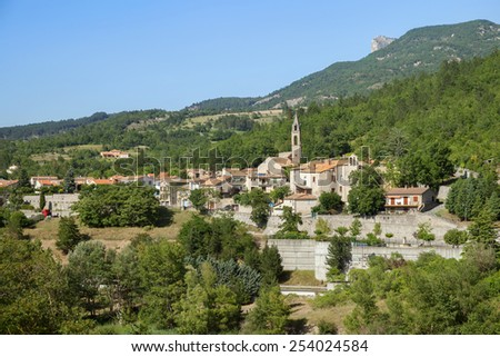 Scenic view on town of Sisteron in Provence, France - stock photo