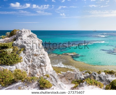 Scenic view over the shore of Rottnest island . - stock photo