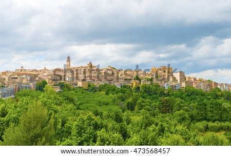 Scenic view over typical landscape Province of Macerata, Italy