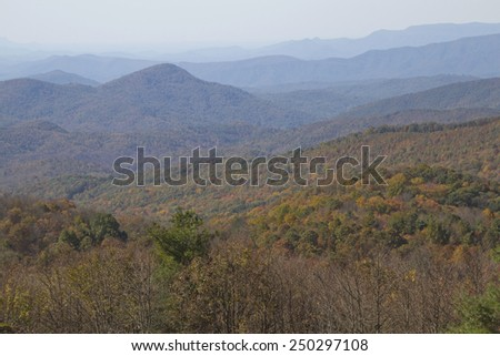 Scenic view overlooking the picturesque Appalachian Mountains dressed in autumn colors, Max Patch, North Carolina