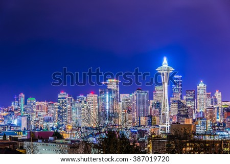 scenic view Seattle cityscape in the night time,Washington,USA.