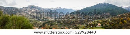 Scenic view to small village in mountains near Kalavrita, Peloponnese, Greece