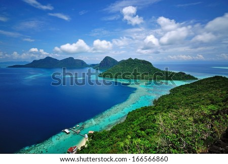 Scenic view Tun Sakaran Marine Park tropical island in Semporna, Sabah, Malaysia. Taken from the peak of Bohey Dulang Island.  - stock photo