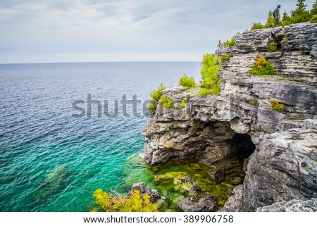 Scenic Views at the Grotto on Georgian Bay Ontario Canada Great Lakes Region - stock photo