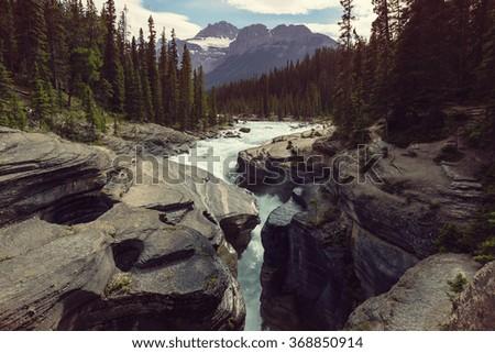 Scenic views of the Athabasca River, Jasper National Park, Alberta, Canada - stock photo