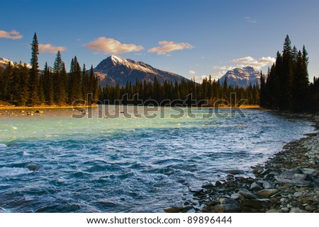 Scenic views of the Athabasca River Jasper National Park Alberta Canada