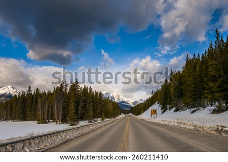 Scenic views of the Icefield Parkway in winter, Banff National Park, Alberta Canada - stock photo