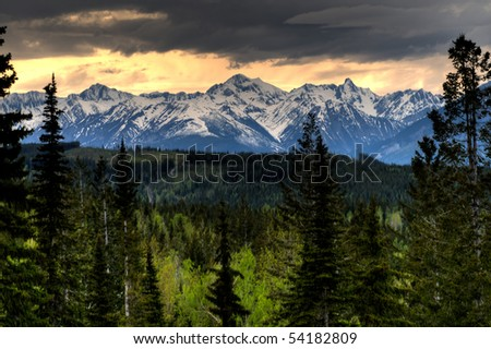 Scenic Views of the Rocky Mountains, Golden B.C. Canada - stock photo