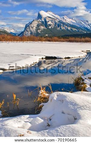 Scenic views of Vermilion Lakes Banff National Park Alberta Canada in Winter - stock photo