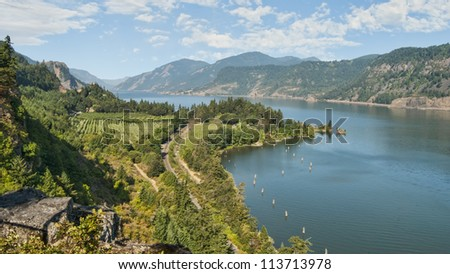 Scenic Vineyard & Orchards in Columbia River Gorge - stock photo