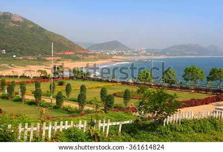 Scenic Visakhapatnam beach in Andhra Pradesh,India - stock photo