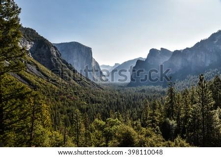 Scenic Vista, Tunnel View - Yosemite National Park  - stock photo