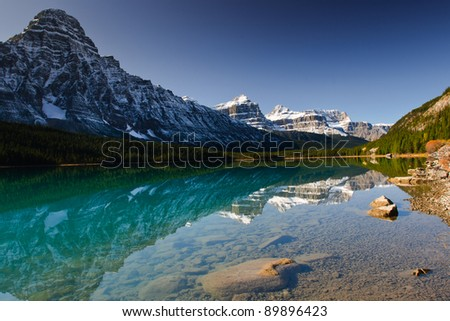 Scenic Waterfowl Lake in Banff National Park Alberta Canada - stock photo