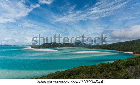 Scenic whitehaven beach on the Whitsunday Islands in Australia