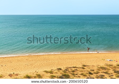 scenic wild beach. seaside background. vacation at sea. family vacation