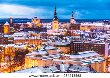 Scenic winter evening aerial view of the Old Town architecture in Tallinn, Estonia - stock photo