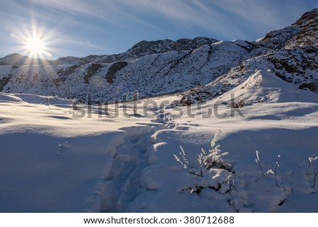 Scenic winter view with mountains covered with snow, bushes and grass in the frost and the sun over the mountains against the blue sky and clouds - stock photo