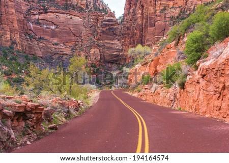 Scenic Zion Road. Zion National Park Interior Road. Utah, USA. - stock photo