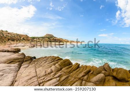 Scenics from the bay of Cabo Pulmo, where the desert meets the sea, Baja California sur Mexico. - stock photo