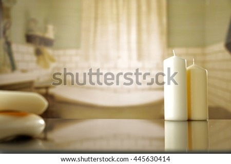 Scented candles and soaps - stock photo