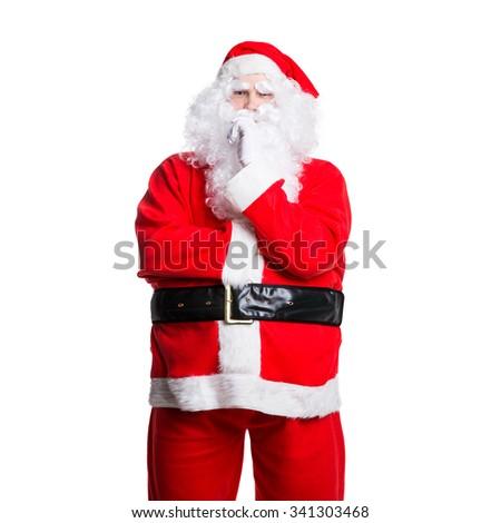 sceptical santa claus - stock photo