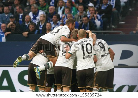 SCHALKE, GERMANY - SEP 21: Rafinia, Schweinsteiger, Kroos, Robben and Mandzukic during a match between FC Schalke 04 & FC Bayern Munich, final score 0-4, on September 21, 2013, in Schalke, Germany. - stock photo