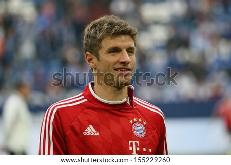 SCHALKE, GERMANY - SEP 21: Thomas M���¼ller (FC Bayern) during a Bundesliga match between FC Schalke 04 & FC Bayern Munich, final score 0-4, on September 21, 2013, in Schalke, Germany. - stock photo