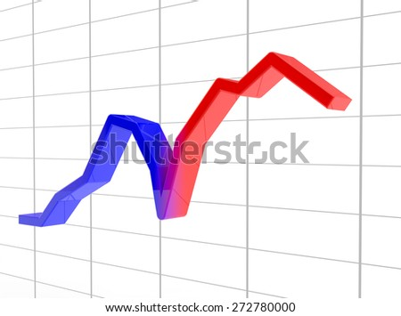 schedule from recession to growth from blue to the red - stock photo
