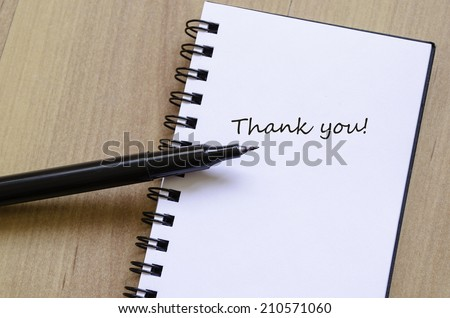 Schedule Notepad Thank you note - stock photo